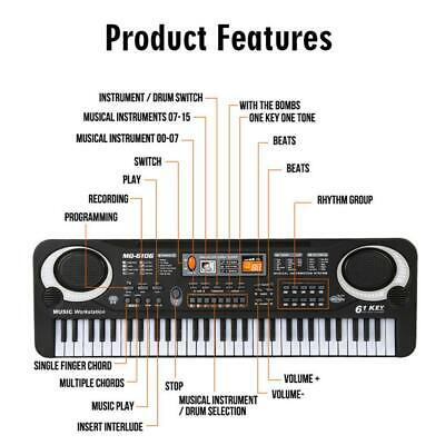 Piano Portable Musical Instrument Electronic Children I3R1L 61-Key Keyboard For