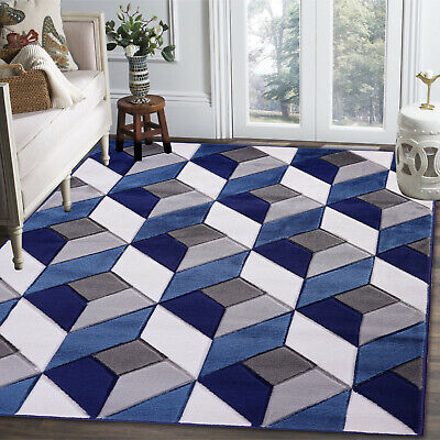 Blue Grey Modern Thick Carved Small Large Area Rug Runner Carpet Floor Mat
