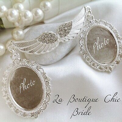 Angel Wing double Bridal Bouquet Photo Frame Silver Crystal style Memory Charm