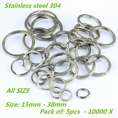 15-38mm Stainless Steel Flat Split Key Ring Fishing Solid Chain Clips 10-5000Pcs