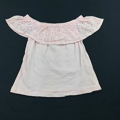 Girls size 1, Cotton On, pink cotton broderie t-shirt / top, FUC