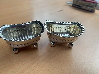 Pair Pretty Antique Victorian Solid Silver Table Salts Sheffield 1894