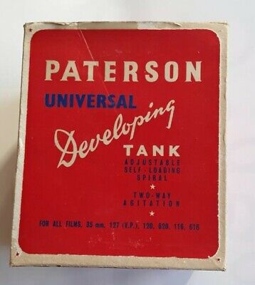 PATERSON UNIVERSAL DEVELOPING TANK For Films 35mm Ajustable Self Loading Two Way