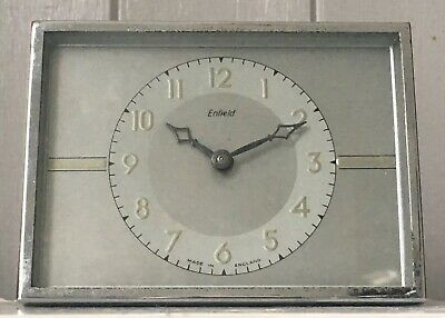 Vintage Art Deco Clock. Enfield Chrome  Small Table /Bedroom Clock .