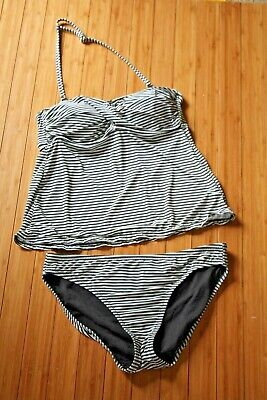 bc27d1eb94 Garnet Hill Ruched Two-Piece Tankini Swimsuit Size 4 / 6 Black White Striped