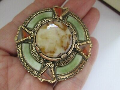 Vintage Signed Miracle Agate Glass Scottish Celtic Cross Shield Plaid Brooch Pin