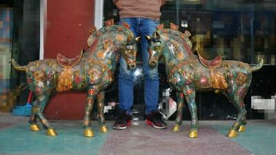 China Feng Shui bronze Cloisonne Gilt War Horse Steed Horses Animal Statue Pair