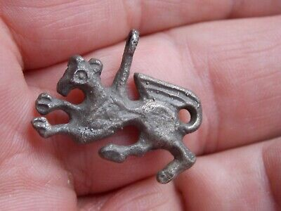 ancient silvered griffin pendant unusual find metal detecting detector find