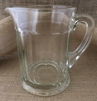 Vintage Beer/ Root beer Pitcher Heavy Paneled Glass Barware Beer Mugs