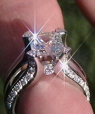 Luxury Women 925 Silver Rings Princess Cut White Sapphire Wedding Ring Size 6-10