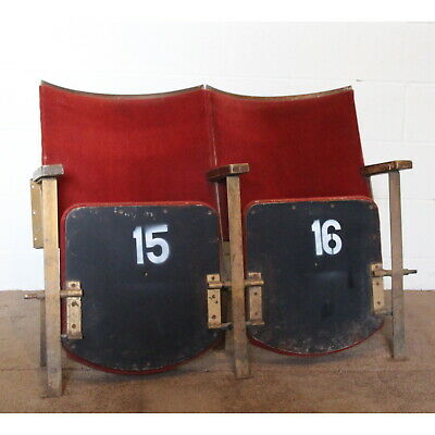 A Pair of Vintage Retro C1930s Cinema Theatre Seats or Chairs Red Velvet