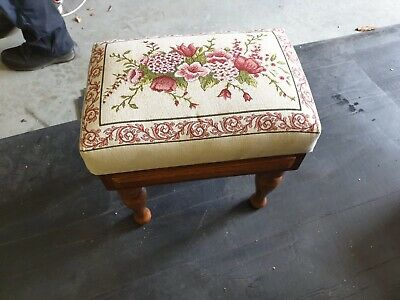Antique Embroidered Fabric Footstool