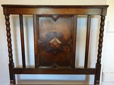 Antique/Vintage Metal Bed Frame With Solid Wood Headboard And Footboard