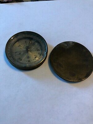 Brass Compass Vintage Made in France French 1840-1870 With Stop And Lid