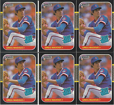 1987 Donruss Greg Maddux #36 Rated Rookie Chicago Cubs Lot of 6 Cards