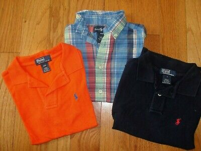 Lot of 3 Ralph Lauren Boys Orange Navy  Polo Plaid SS Button Down Size 4T Shirts