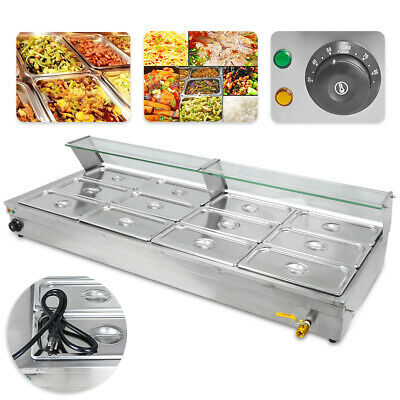 Restaurant 12-Pan Food Warmer 110V Bain-Marie Buffet Steam Table Large Capacity