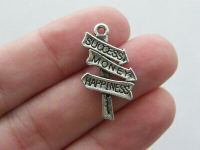 20 Success Charms Success Money and Happiness Charms Antique Silver 25x14 3263