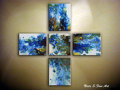 Abstract Blue Painting Set of 5 panels Acrylic Fluid Art on Canvas by Nata