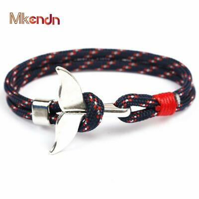 Fashion Whale Tail Anchor Bracelets Men Women Charm Nautical Survival Rope Chain