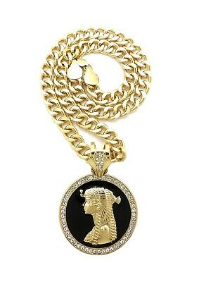 "EGYPTIAN CLEOPATRA PENDANT WITH 9mm 18"" CUBAN CHAIN"