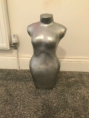 Vintage Silver coloured free-standing mannequin torso body Ornament
