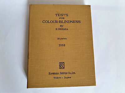 Tests For Colour Blindness By S.ishihara 24 Plates Tokyo Japan 1968