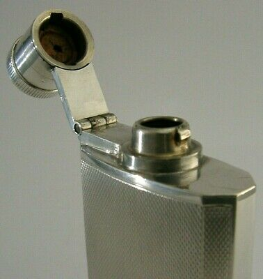 STYLISH STERLING SILVER ENGINE TURNED HIP or SPIRIT FLASK 1939 ART DECO