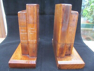 Unusual Art Deco Vintage Wooden Bookends,Entitled Meine Kampe And The World War