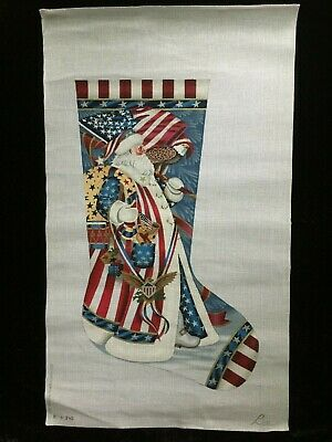 Susan Roberts/Liz Hand-painted Needlepoint Canvas Patriotic Santa Stocking/$484R