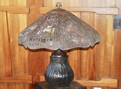Handel large palm tree table lamp, mission,arts and crafts