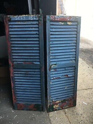 "c1930 pair fixed louvered house SHUTTERS old GREEN 51.25"" h x 18.25"" w x 1 1/8"""