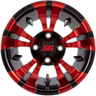 """12"""" Vampire - Black w/Machined Face Red Clear Coat - Golf Cart Wheel"""