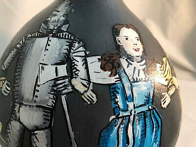 Nature Large HANDPAINTED GOURD- WIZARD OF OZ -Tin Man, Dorothy, Lion, Scarecrow