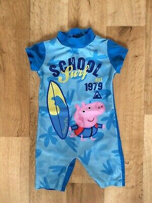 Boys Peppa Pig George UV Sun Protection All In One Swimming Suit 12-18 Months