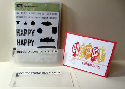 Stampin up Lot~Happy Celebrations set & Due Embossing folders bundle~Birthday