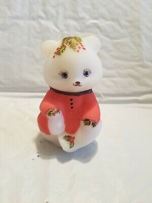 Louise Piper Hand Painted Winter Fenton Sitting Bear