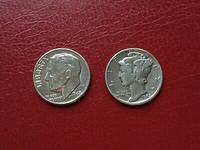 One Dime USA   1948   1942   Silver Coins   Roosevelt   Mercury