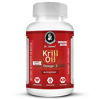 3 MONTH SUPPLY - 160 softgels Krill Oil 1000 mg Omega-3 EPA DHA EXP: 09/2022