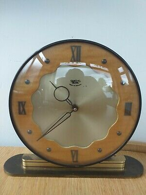 Smiths Mid-Century Art Deco Styled Sectric Brass And Wood Electric Mantle Clock