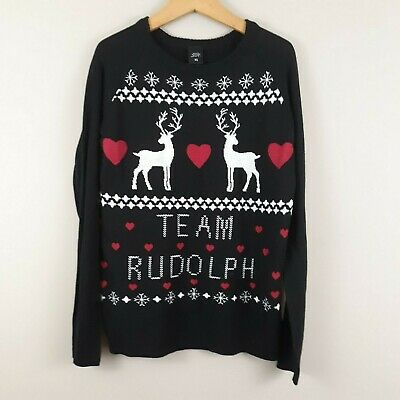 Women's Ugly Christmas Sweater Team Rudolph Reindeer Size XS