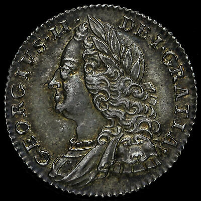 1757 George II Early Milled Silver Sixpence, A/UNC