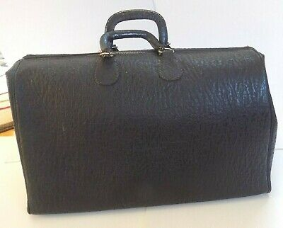 Antique Black Leather Doctor's Medical Bag with Key