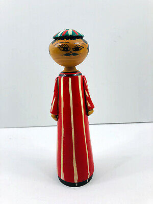 Vintage Folk Art Painted Man Wise Men Carved Hand Painted Figure  Wood Wooden