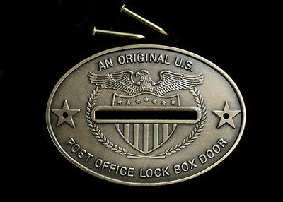 Post Office Box Door Coin Slot -1 Original Fancy SOLID BRASS,w/Nails, Made USA