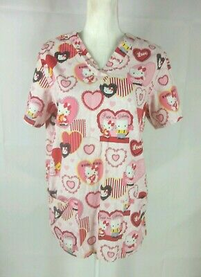 1d852412f96 Sanrio Women's Scrub Top Size Small Hello Kitty Be my Valentine White Pink  Red