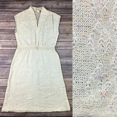 Vintage USA 60's 70's Womens 11 Cream Crochet Lace Knit A-Line Midi Flare Dress