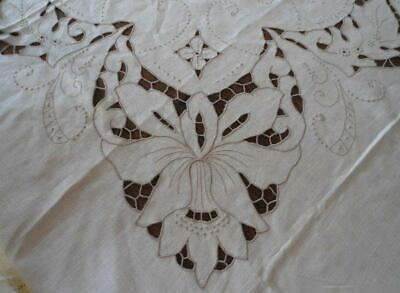 NWT Vintage Madeira Linen Tablecloth Cutwork Embroidered Lilies Ecru 90""