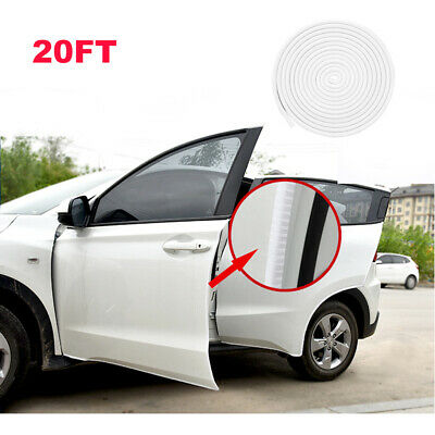 20FT White Car Rubber Seal Trim Molding Strip Door Edge Lock Protector Cover