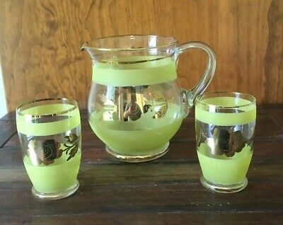 Sugar Frosted Glass Jug & 2 Glasses Gold Gilt Vintage Yellow Excellent Condition